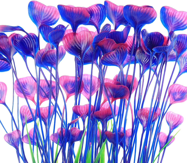JIH Aquarium Plastic Plants Tall 16 inch Large Artificial Plants Decoration Ornament for Fish Tank