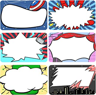 Superhero Name Tags Labels Kids and Adult Handwriteable Stickers for School Office Home, Ideal for Students or Teachers Supply, 6 Designs 180 PCS