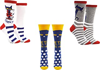 Pete the Cat Socks Gifts (Adult) (3 Pair) - (Women) Pete-the-Cat Groovy Crew Socks - Fits Shoe Size: 4-10 (Ladies)