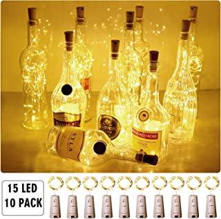 Aluan Wine Bottle Lights Fairy Lights 15LED 10Pack Battery Operated Cork Lights Waterproof Christmas String Lights for Party Wedding Christmas Festival Decoration, Warm White