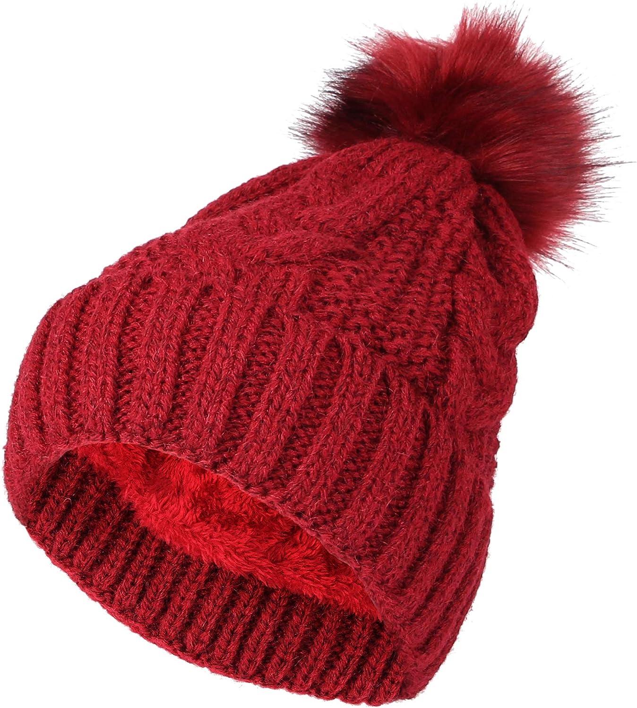 WITHMOONS Fleece Twist Knit Pom Beanie Regular discount Hat Cap Slouchy High material Winter DZ
