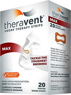 Theravent Snore Therapy Strips, Maximum Strength, Tackle the Toughest Snoring, Bed Partner Approved, 20 Count