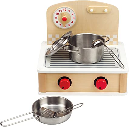 Amazon Com Hape Tabletop Cook And Grill Kid S Wooden Kitchen Play Set With Accessories Toys Games