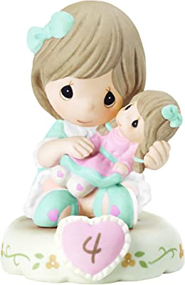 Precious Moments 152010B Growing in Grace Age 4 Girl Bisque Porcelain Figurine Brunette