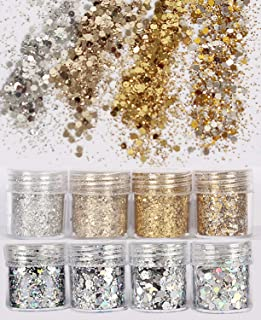 COKOHAPPY 8 Boxes Gold Silver Body Chunky Glitter Makeup, Holographic Flake Cosmetic Sequins Glitter, Ultra-thin Nail Art ...
