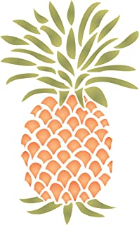 """Pineapple Stencil - (size 6.5""""w x 10.5""""h) Reusable Wall Stencils for Painting - Best Quality Fruit Kitchen Stencil Ideas - Use on Walls, Floors, Fabrics, Glass, Wood and More…"""