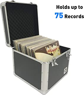 Classic Acts Vinyl Record Album Storage Case – Aluminum Lp Record Player Crates for Records (Holds 75 Records)