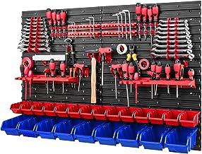Gereedschapswand stapelboxen - 1152 x 780 mm - opslagsysteem SET gereedschapshouders en 23 rood/blauwe dozen - wandrek wer...