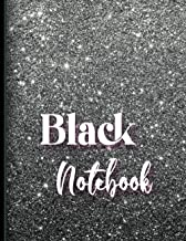 Black Notebook Paper for Use with Gel Pens: 150 Pages, 8.5x11 - Floral interior - Small Weekdays on the Top to Mark your D...