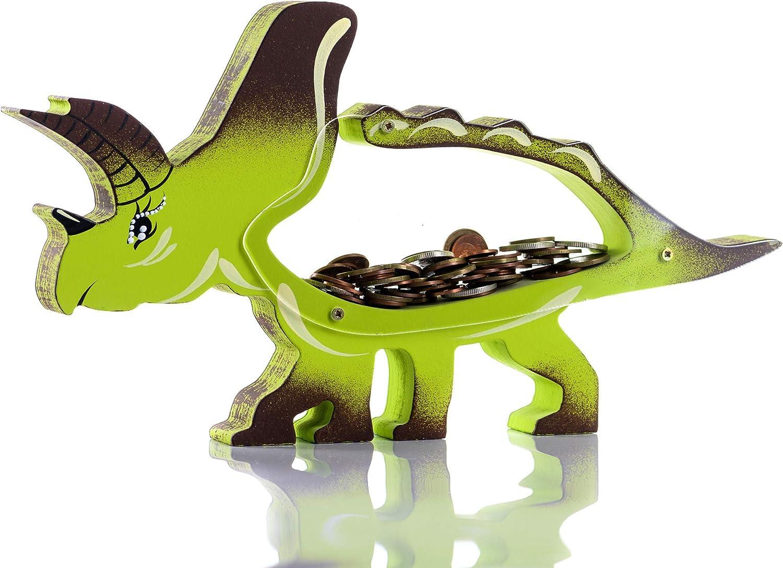 Zeinum Dinosaur Triceratops Green Piggy-Bank Coins Ranking TOP20 300 New Free Shipping Reusable