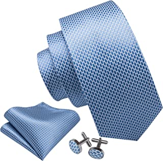 Barry.Wang Mens Ties Set Retro Plaid Necktie with Hanky Cufflinks Formal