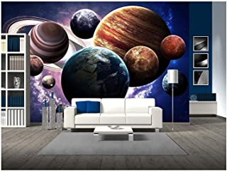 wall26 - High Resolution Images Presents Planets of The Solar System. - Removable Wall Mural | Self-Adhesive Large Wallpaper - 100x144 inches