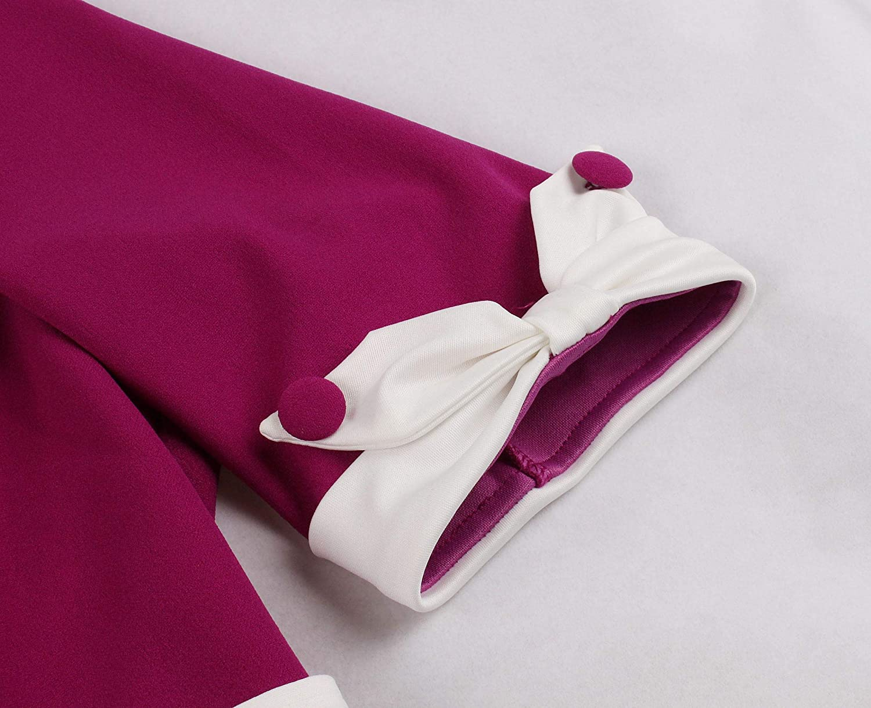 Wellwits Women's 1/2 Half Sleeves Sailor Tie Neck 1940s Retro Vintage Dress
