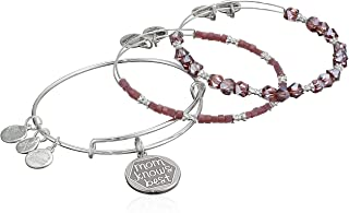 Alex and Ani Women's Color Infusion, Mom Knows Best Set of 3 Bracelet, Shiny Silver, Expandable