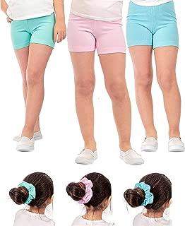 DEAR SPARKLE Girls' Dance Shorts 3 Pack Girl Stretch Kids Toddler Short + Hair Ties (G4)
