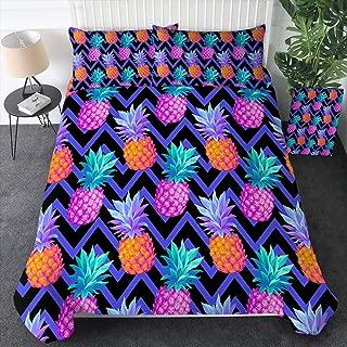 Sleepwish Pineapple Bedding Hawaiian Pineapples Wave Chevron Pattern Duvet Cover Set 3 Pieces Psychedelic Fruit Bed Set Purple Pink and Green (Queen)