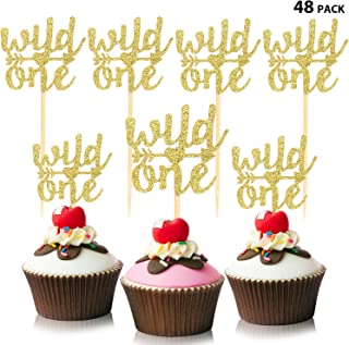 48 Pieces Gold Glitter Wild One Cupcake Toppers Baby's First Birthday Decors Boho Teepee Cupcake Toppers for Wedding Birthday Baby First Birthday Decors (Style 2)
