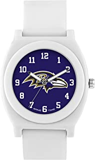 Game Time Women's 'FAN' Quartz Plastic and Rubber Casual Watch, Color White (Model: NFL-FNW-BAL)