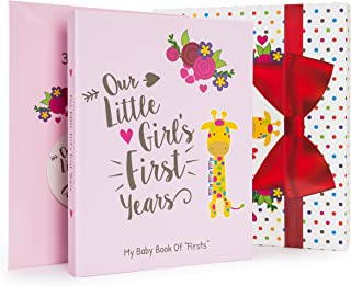 Ronica Baby Girl Gift Set with Baby Memory Book and Monthly Stickers, Modern Photo Journal, Keepsake Album for Girls, First 5 Years, Shower Gift Idea for Mom, Dad Or Grandparents