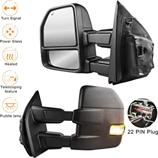 MOSTPLUS Power Heated Towing Mirrors for Ford F150 2015 2016 2017 w/Turn Signal, Auxiliary,Clearance & Puddle Lights-22 Pin Plug (Set of 2)