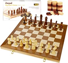 "Juegoal 15"" Wooden Chess & Checkers Set, 2 in 1 Board Games for Kids and Adults, with Felted Game Board Interior for Stora..."
