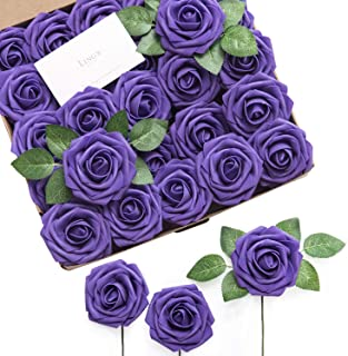 Ling's moment Artificial Flowers 50pcs Real Looking Cadbury Purple Fake Roses w/Stem for DIY Wedding Bouquets Centerpieces Bridal Shower Party Home Decorations