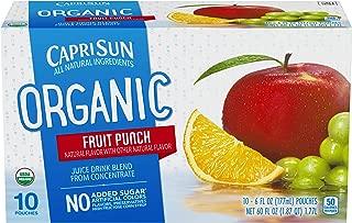 Capri Sun Organic Fruit Punch Juice Drink , 10 Count Pack of 4 - Pouches, 60.0 fl oz Box