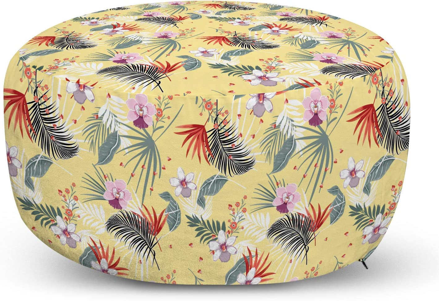 Ambesonne Summer Free shipping anywhere in the nation Pouf Cover with Exotic Tropical Zipper Denver Mall Season