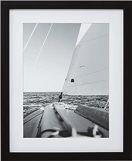 Modern Black and White Nautical Sailboat at Sea Photo Wall Art Décor - 18 x 22 Inch Frame, Black