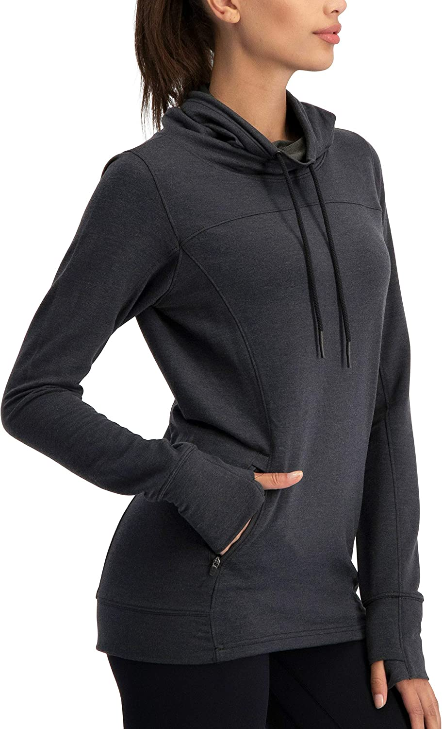 Dry Fit Running Pullover Womens - Fleece Cowl Neck Run Sweater Jacket - Zip Pockets and Thumbholes