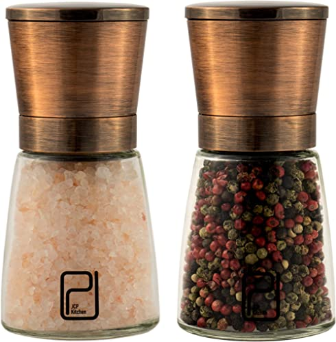 Premium Salt and Pepper Grinder Set - Best Copper Stainless Steel Mill for Home Chef Magnetic Lids Smooth Ceramic Spi...