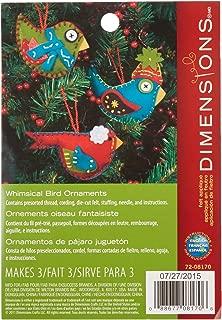 Dimensions Whimsical Bird Wool Felt Applique Ornaments Kit, 3 pcs