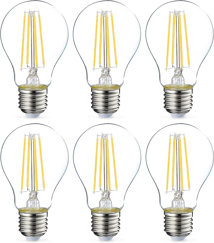 Amazon Basics Bombilla LED Esférica E27 con Filamento, 7W (equivalente a 60W), Blanco Cálido - 6 unidades