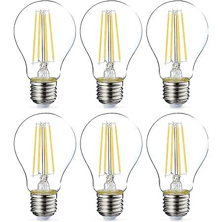 Amazon Basics Ampoule LED E27 A60 avec culot à vis, 7W (équivalent ampoule incandescente 60W), transparent avec filament - Lot de 6