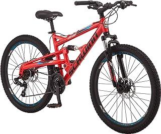 Schwinn Protocol 1.0 Dual-Suspension Mountain Bike with Aluminum Frame, 26-Inch Wheels, Red/Blue (S2756AAZ)