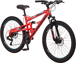Schwinn Protocol 1.0 Dual-Suspension Mountain Bike with Aluminum Frame, 26-Inch Wheels, Red/Blue (S2756AAZ)