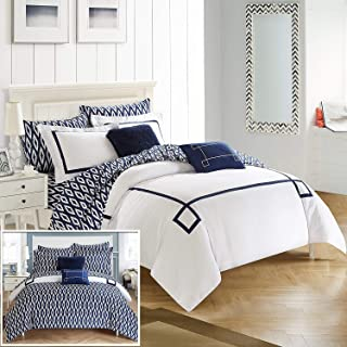 Chic Home Trace 9 Piece Reversible Comforter Bag Greek Key Embroidered Pattern Modern Watercolor Technique Print Bedding, Queen, Navy