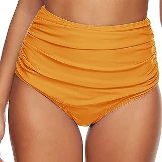Omichic Women Vintage High Waist Bikini Bottom Ruched Tummy Control Swim Bottoms