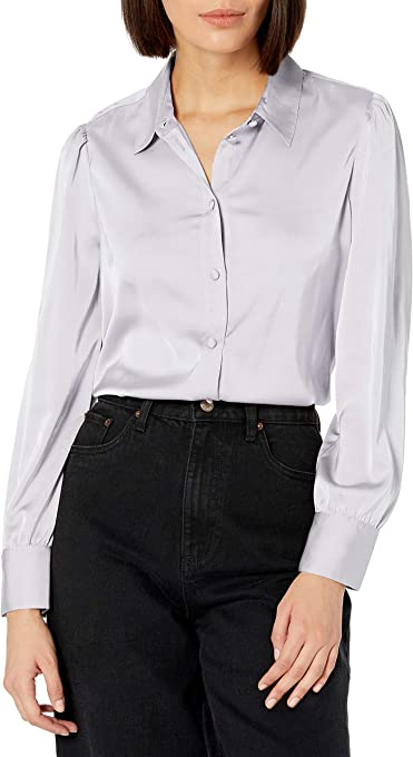 The Drop Women's @lucyswhims Long Sleeve Button Down Stretch Satin Shirt