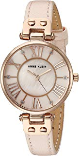Anne Klein Women's Glitter Accented Leather Strap Watch