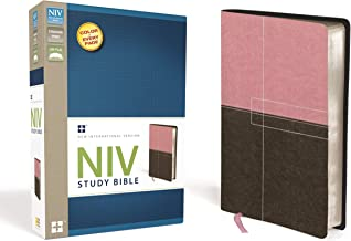 NIV Study Bible, Leathersoft, Pink/Brown, Red Letter Edition