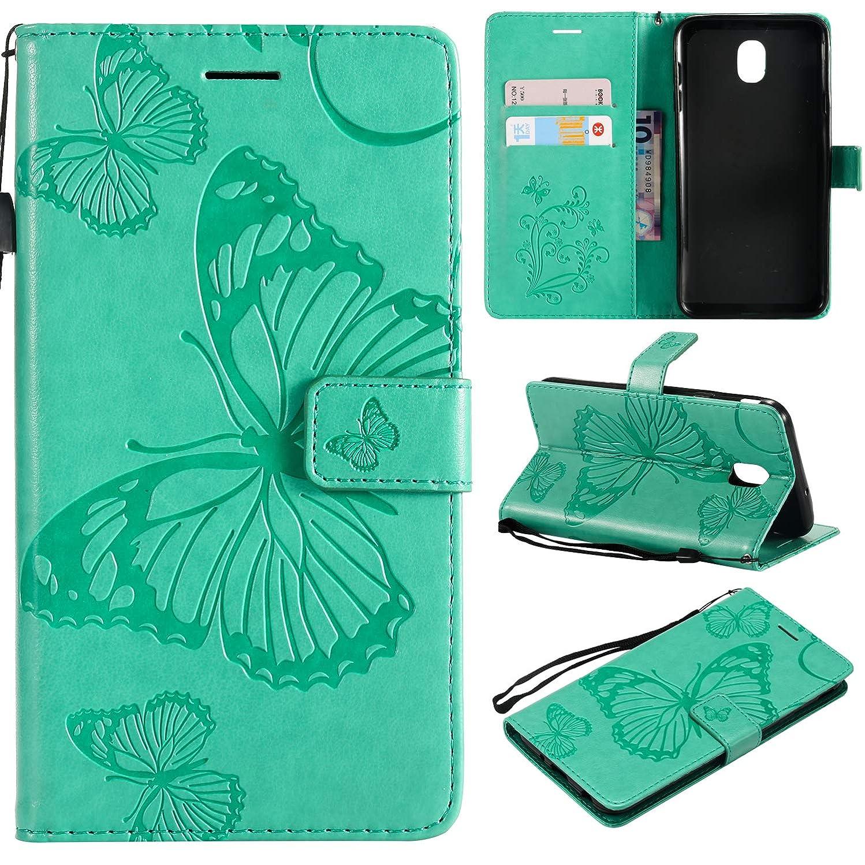 Cmeka Emboss Butterfly Wallet Case for Samsung Galaxy J7 2018/J7 Aero/J7 Star/J7 Top/J7 Crown/J7 Aura/J7 Refine/J7 Eon Flip PU Leather Magnetic Closure,Card Slots,Kickstand (Mint Green)