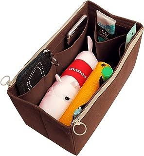 [Fits IENA MM, Dark Brown] Felt Organizer (with Double Zipper Bag), Bag in Bag, Wool Purse Insert, Customized Tote Organize, Cosmetic Makeup Diaper Handbag