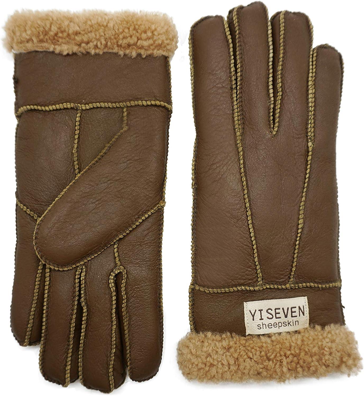 YISEVEN Womens Winter Sheepskin Shearling Leather Gloves Mittens Wool Cuffs