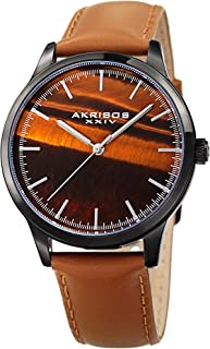 Akribos XXIV Men's Genuine Stone Dial Watch - Shimmering Dial with Hand Applied Markers On Smooth Glove Finish Genuine Leather Strap - AK937