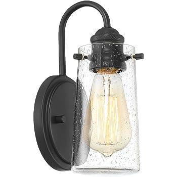 """Kira Home Rayne 9.5"""" Modern 1-Light Wall Sconce/Bathroom Light, Seeded Glass + Matte Black Finish"""