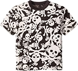 Soft Cotton Skull and Cross Bone Print Short Sleeve Tee (Toddler/Little Kids)