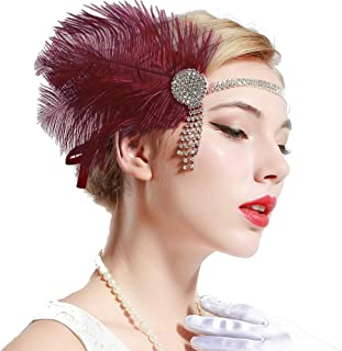 Vintage 1920s Flapper Headband Roaring 20s Great Gatsby Headpiece with Feather 1920s Flapper Gatsby Hair Accessories