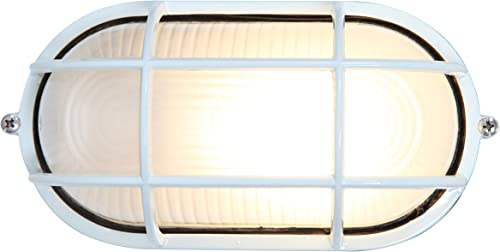 wholesale Nauticus - Wet Location LED Bulkhead - online sale White Finish - Frosted Glass online sale Shade online