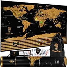 Scratch Off World Map Poster - Global Wallpaper Travel Gift - Traveler Memory Decor for Classroom or Home Office - State Outlines, Countries' Flags, Black and Gold - by TripsGeo